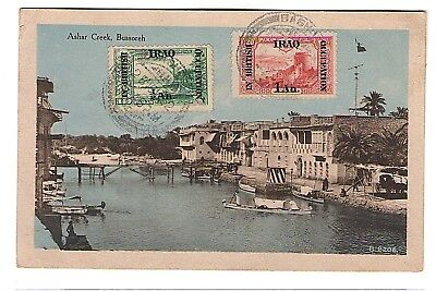 1922 IRAQ In British Occupation 2 Stamps on Post card sent to Italy.