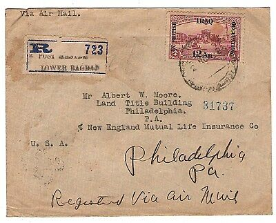 1922 IRAQ In British Occupation 12 An Stamp on cover sent to USA, Rare.