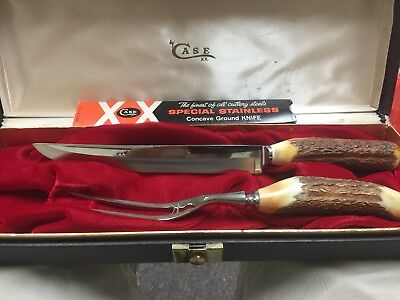 """Case XX Vintage """"Noble Duo"""" Stag Handle Stainless Steel Carving Set"""