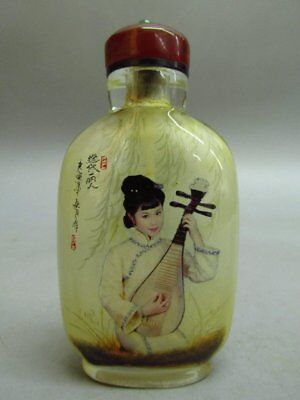 Chinese Glass Hand Inside-drawing Belle Pattern  Snuff Bottle
