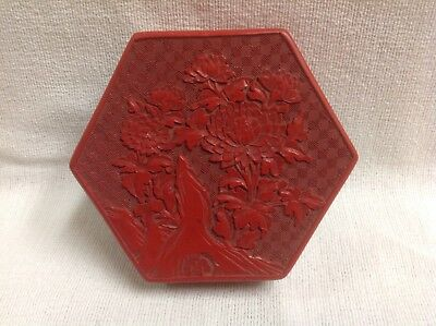 Vintage Antique Chinese Red Cinnabar Lacquer Jewelry Box , Deeply Carved Asian