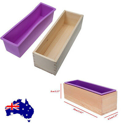 Wood Box Baking Tool Toast Loaf Bread Soap Silicone Mold Rectangle Mould 1.2KG