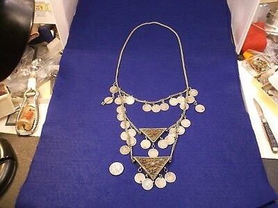 Rare Vtg Antique Turkish / Ottoman Empire Coins & Silver Muskalik Oils Necklace