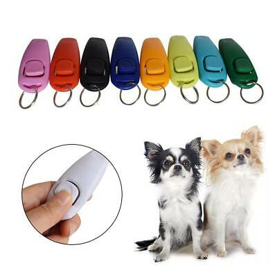 2 in1 Pet Dog Training Clicker + Whistle Mini Trainer Guiding Tool Plastic Pop