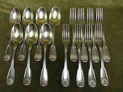Magnificent french sterling gilded silver dessert set 15pcs 818gr Aucoc shells