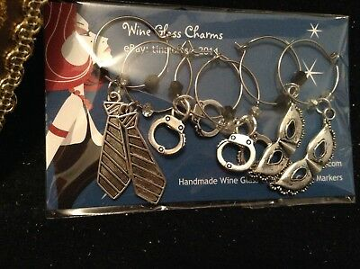 Wine Glass Charm - Set of 6 - 50 Shades of Gray Theme (Tie, Handcuffs, Mask)