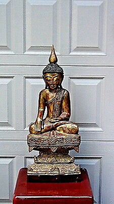 ANTIQUE 19c QING BURNESE WOOD CARVED GILT LACQUERED BUDDHA ON THRONE STATUE