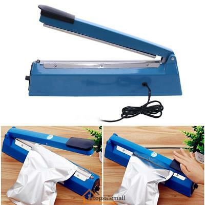 "12"" Manual Impulse Heat Sealer Sealing Hand Plastic Poly Bag Closer Machine Blue"