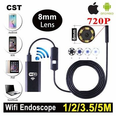 SALE 8mm Wifi Borescope Camera Endoscope Camera Semi Rigid Hard Tube 720P 1-5m