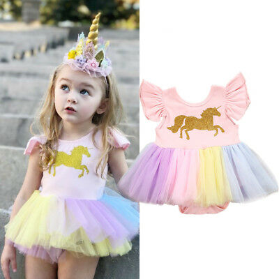 Adorable Baby Girls Unicorn Lace Tutu Romper Princess Dress Tops Outfits Clothes