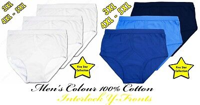 Men's Colour 100% Cotton Interlock Y-Fronts Small to 5XL By Five Star Brief