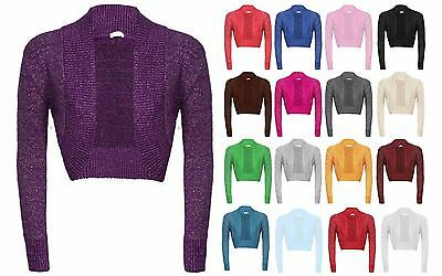 LADIES NEW PLAIN LONG SLEEVE KNITTED LUREX BOLERO WOMENS SHRUG CARDIGAN TOP.8-18