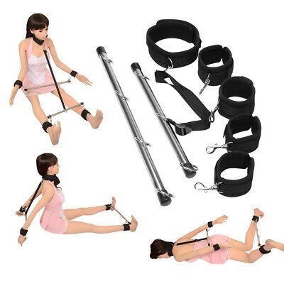 Slave Bondage Fetish Fantasy Game Dubble Spreader Bar Restraint Ankle Wrist Cuff