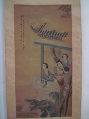 Very Large Old Chinese Scroll 100% Hand Painting Beautiful Women GaiQi Marks