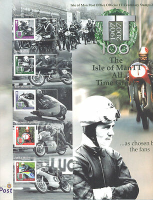 Isle of Man-TTraces Motorcycles 2 sheets scarce stamps diff perf + smaller mnh