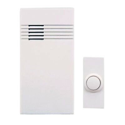 Wireless Battery Operated Door Clime Kit Doorbell Push Button 100 Ft Range White