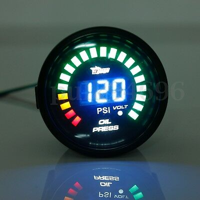 "2"" 52MM LED Digital Voltmeter Voltage Oil Press Pressure PSI Gauge Meter Pointer"