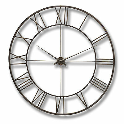 Antique Brown Metal Framed Wall Clock -  Wonderful Addition To The Home.