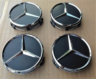 4 PCS 75mm Wheel Center Hub Caps Cover Badge Emblem For Mercedes Benz Black