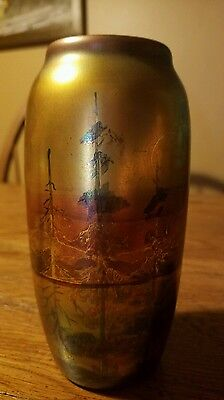 """Early Weller Lasa 6"""" Vase with Beautiful Landscape"""