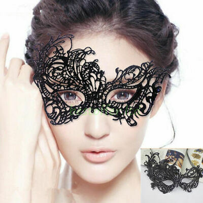 LADIES LACE FANCY DRESS Black VENETIAN MASQUERADE EYE MASK HALLOWEEN PARTY LACE
