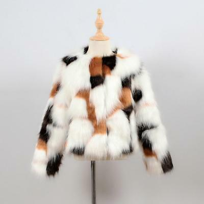 Girls Boys Faux Fur Furry Vintage Cow Animal Print Hairy Winter Jackets Coat