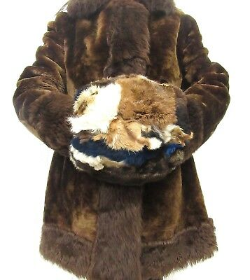 Genuine Vintage Multi Colour Real Rabbit Fur Hand Muff Warmer 2 In 1 Pouch #2