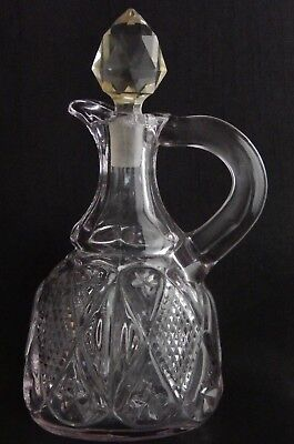Antique EAPG Ohio flint Glass Dunkirk Diamond Cruet  #488 Sun Purple c.1896