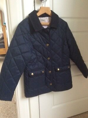 Girls Padded Quilted Coat Jacket M&S Navy Age 7-8