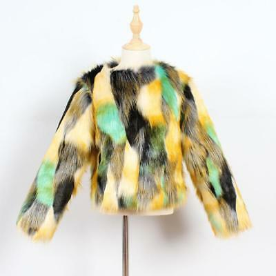 Faux Fur Fluffy Furry Multi Colour Winter Girls Kids Childs Jacket Coat 2-8Y