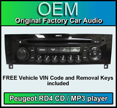Peugeot RCZ car stereo MP3 CD player Peugeot RD4 radio + FREE Vin Code and keys