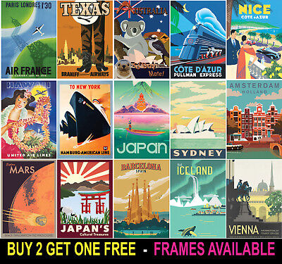 Vintage Travel Retro Posters Upto A1 Size. Available Framed.