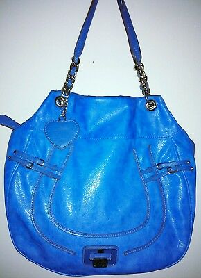 Guess blue PU w/silver chain link straps & hardware hobo bag