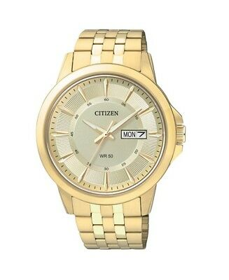 Citizen Men's Stainless Steel Gold Tone Day Date Analog Dress Watch BF2013-56P