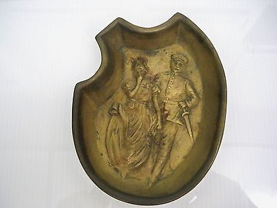 Antique Metal Art Deco Dish Of Woman And Soldier With Reverse Side Bottom Pinch