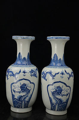 A pair Rare Beautiful  Chinese blue and white  porcelain dragon Vase