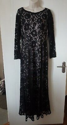 "Stunning Lined Black & Nude Lace  Dress, Marks & Spencer, Size 12, 36"" Bust"
