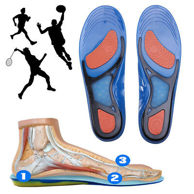 Silicone Gel Insoles Orthotic Flat Feet Arch Support Shoe Pad Sports Inserts OB
