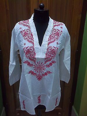 Tunic Xl Blouse 100% Cotton Ethnic Handmade Chikan Embroidery Top Kurta Kurti
