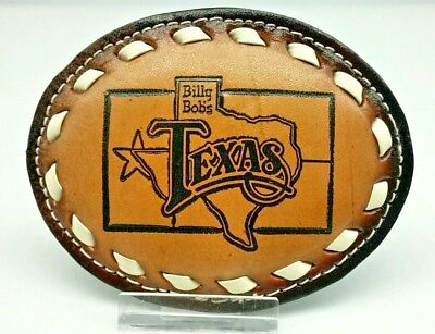 NEW Leather Belt Buckle BILLY BOB'S TEXAS Western style with White BuckStitching