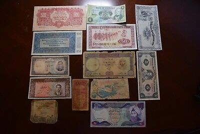 Lot of 13 Vintage Mixed Foreign World Currency Paper Money