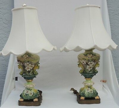 Pair(2)Vtg Ethan Allen Hand Painted Flower Footed Ceramic Brass Table Lamps#3748