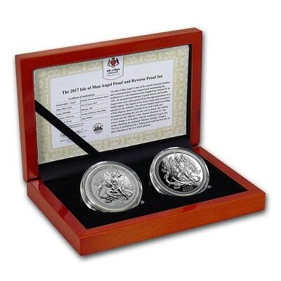 2017 Isle Of Man PRE-SALE 2-Coin Set Of 1 oz Silver Angel Reverse Proof & Proof
