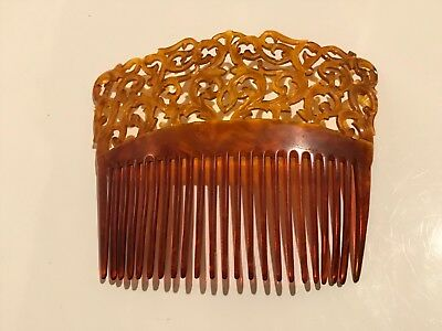 Stunning!!  Antique Vintage Large Faux Tortoise shell Celluloid crown hair comb