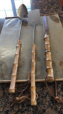 Unique Vintage 3 Pieces Long Bamboo Handles BBQ  Set Made In Japan. Stainless