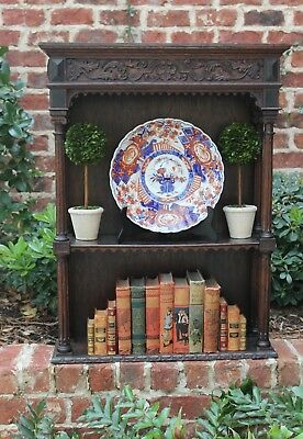 Antique English Oak Renaissance Revival Plate Rack Display Wall Shelf Bookcase