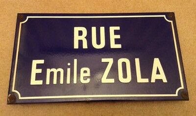 Old French Enamel Street Sign Rue Emile Zola Road Plaque Metal Blue White France