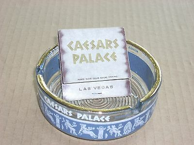 Caesars Palace Casino Ashtray Clear Glass with gold rim and Blue Band design