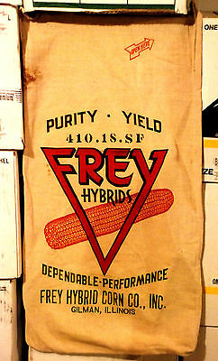 FREY HYBRID SEED CORN SACK with ear of corn, GILMAN, ILLINOIS IL