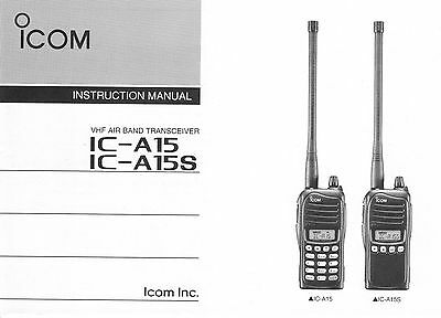 ICOM IC-A15 A15S Flugfunkgerät / Radio Manual / Handbuch in English Language